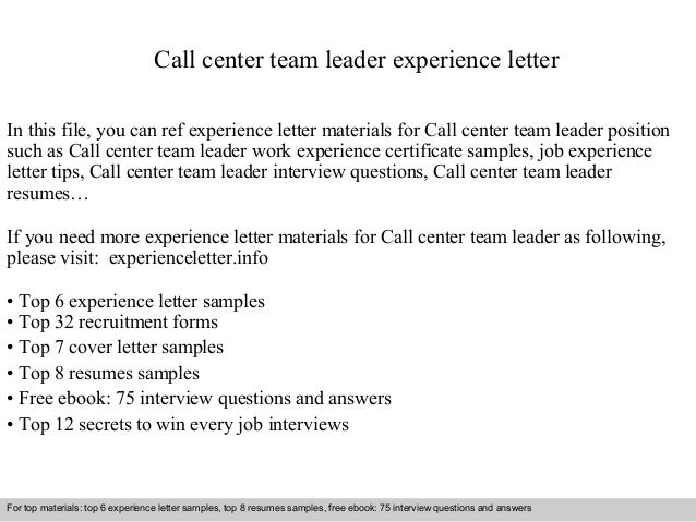 Call center team leader experience letter for Cover letter for a team leader position