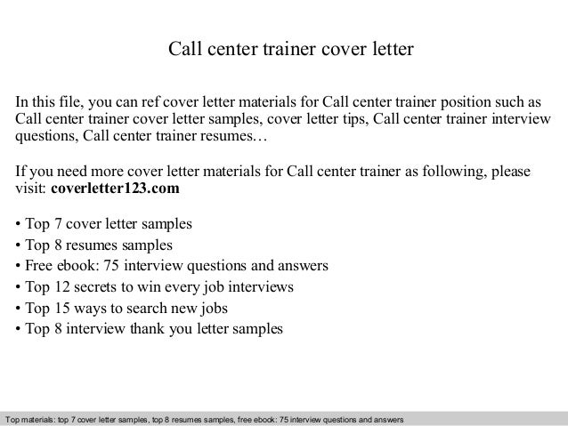 call center trainer cover letter in this file you can ref cover letter materials for. Resume Example. Resume CV Cover Letter