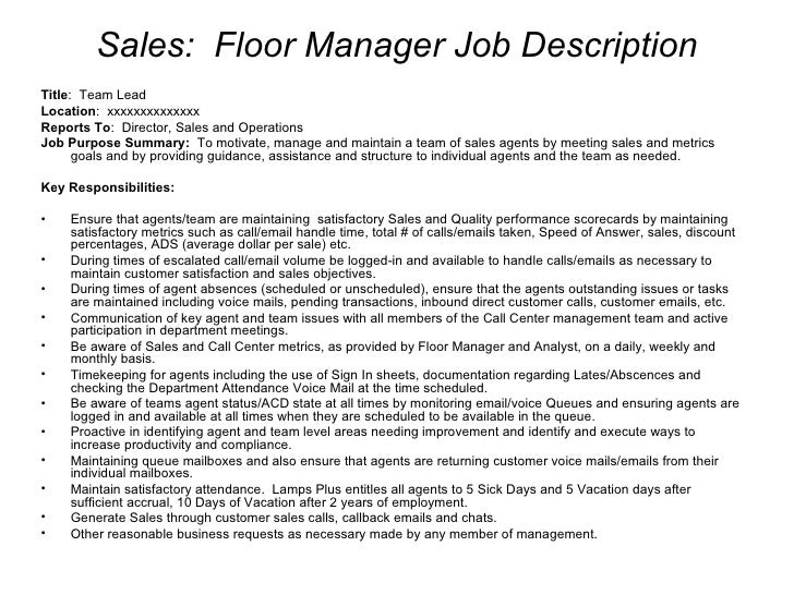 Good ... 4. Sales: Floor Manager Job Description ... Regarding Call Center Supervisor Job Description