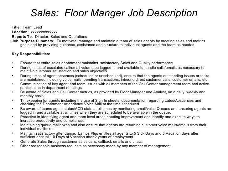 Wonderful ... 6. Sales: Floor Manger Job Description ... Ideas Call Center Manager Job Description