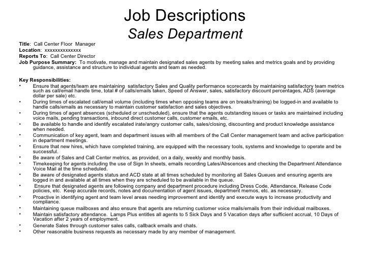 call center job descriptions