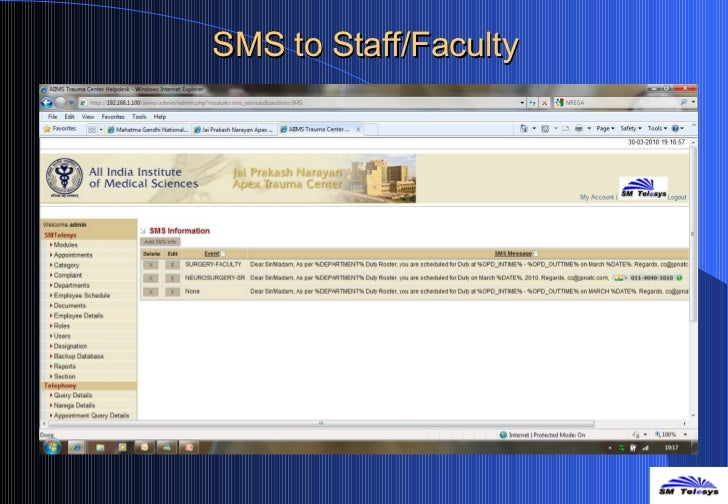 SMS to Staff/Faculty
