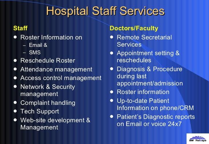 Hospital Staff Services <ul><li>Staff </li></ul><ul><li>Roster Information on  </li></ul><ul><ul><li>Email &  </li></ul></...