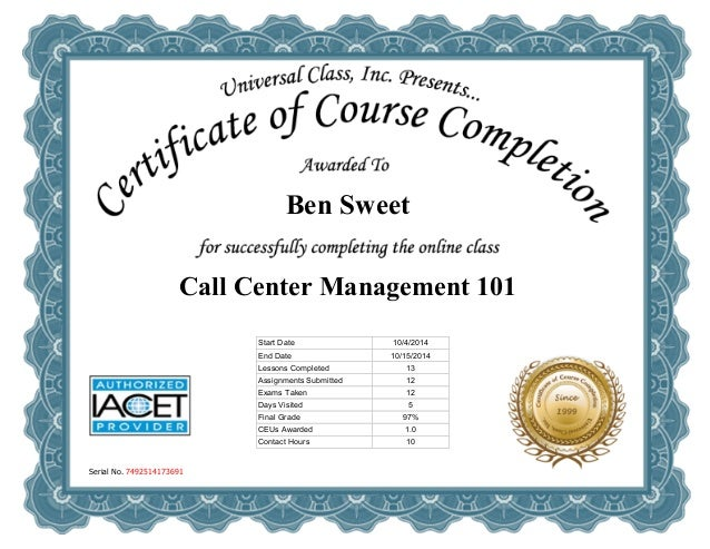Call Centre Management Certificate