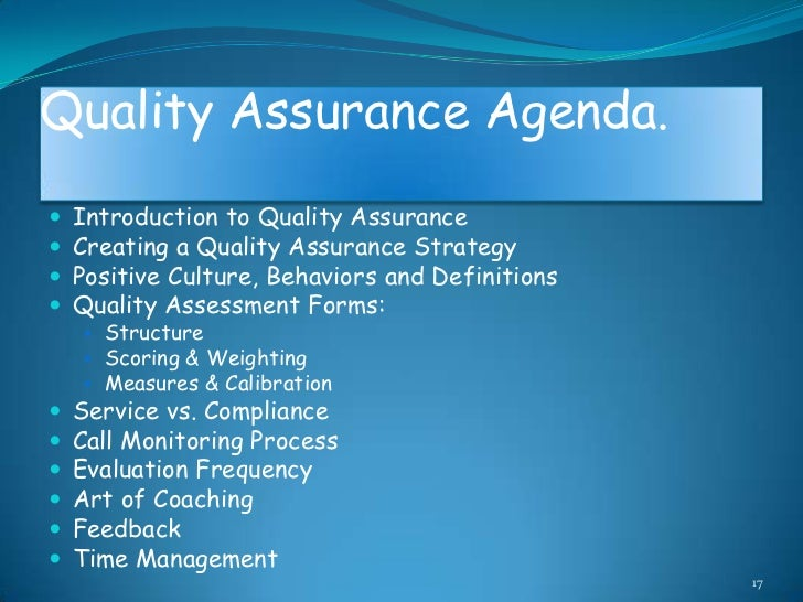 introduction to quality assurance Quality assurance in the laboratory ensures that the result a laboratory generates and reports is accurate, precise and specific external quality assurance (eqa) is an important component of the total quality assurance program of a clinical haemostasis laboratory.