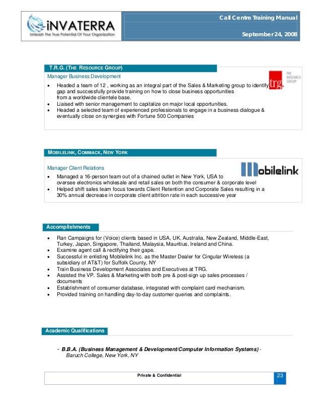 call centre training manual rh slideshare net Sales Training Manual Covers Retail Sales Training Manual
