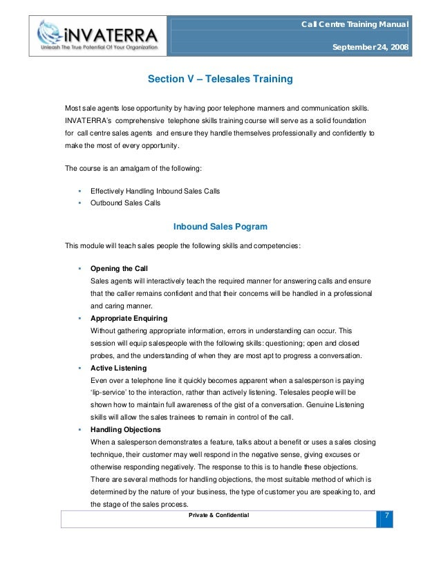 Call centre training manual