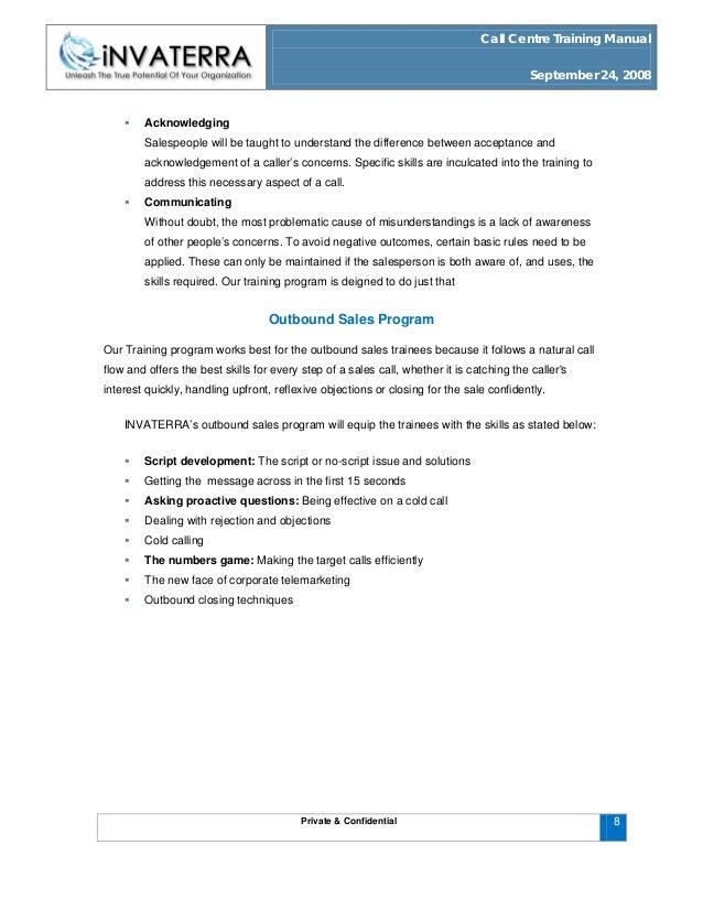 call centre training manual rh slideshare net Management Training Manual Sales Training Manual Covers