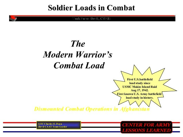 CENTER FOR ARMYCENTER FOR ARMY LESSONS LEARNEDLESSONS LEARNED Soldier Loads in CombatSoldier Loads in Combat Task Force De...