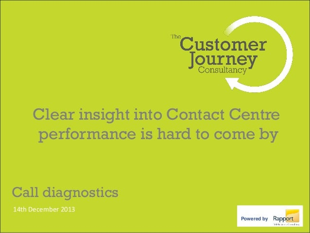 Clear insight into Contact Centre performance is hard to come by Call diagnostics 14th December 2013 Powered by