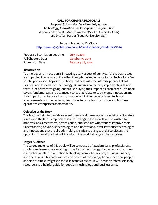 CALL FOR CHAPTER PROPOSALSProposal Submission Deadline: July 15, 2013Technology, Innovation and Enterprise TransformationA...
