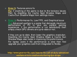 Fix Call of Duty Advanced Warfare Errors, Crashes