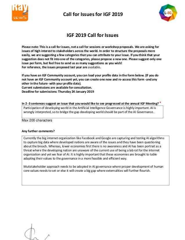 Call for Issues for IGF 2019 IGF 2019 Call for Issues Please note: This is a call for issues, not a call for sessions or w...
