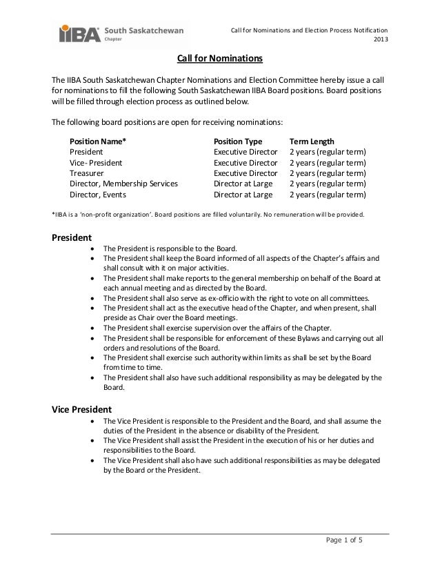 Call for Nominations and Election Process Notification2013Page 1 of 5Call for NominationsThe IIBA South Saskatchewan Chapt...