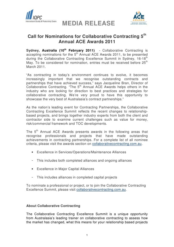 MEDIA RELEASECall for Nominations for Collaborative Contracting 5th              Annual ACE Awards 2011Sydney, Australia (...