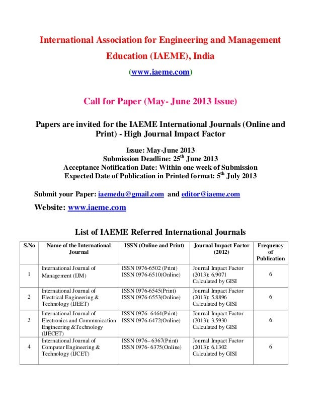 International Association for Engineering and ManagementEducation (IAEME), India(www.iaeme.com)Call for Paper (May- June 2...