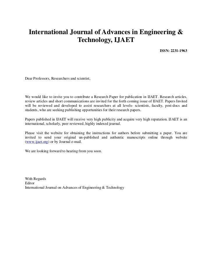 International Journal of Advances in Engineering &                  Technology, IJAET                                     ...