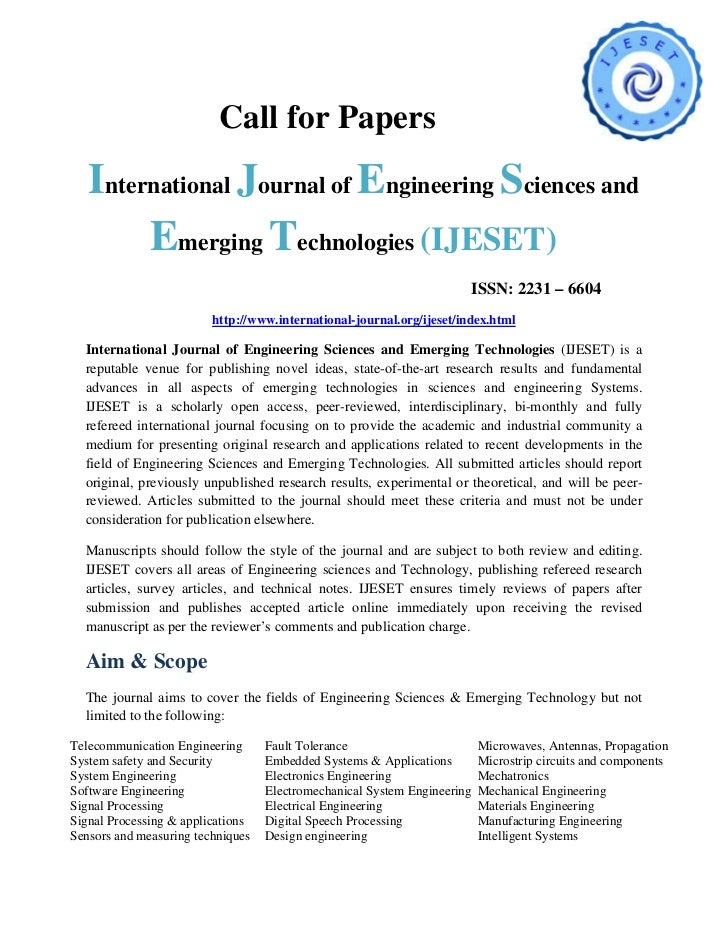Call for Papers   International Journal of Engineering Sciences and        Emerging Technologies (IJESET)                 ...