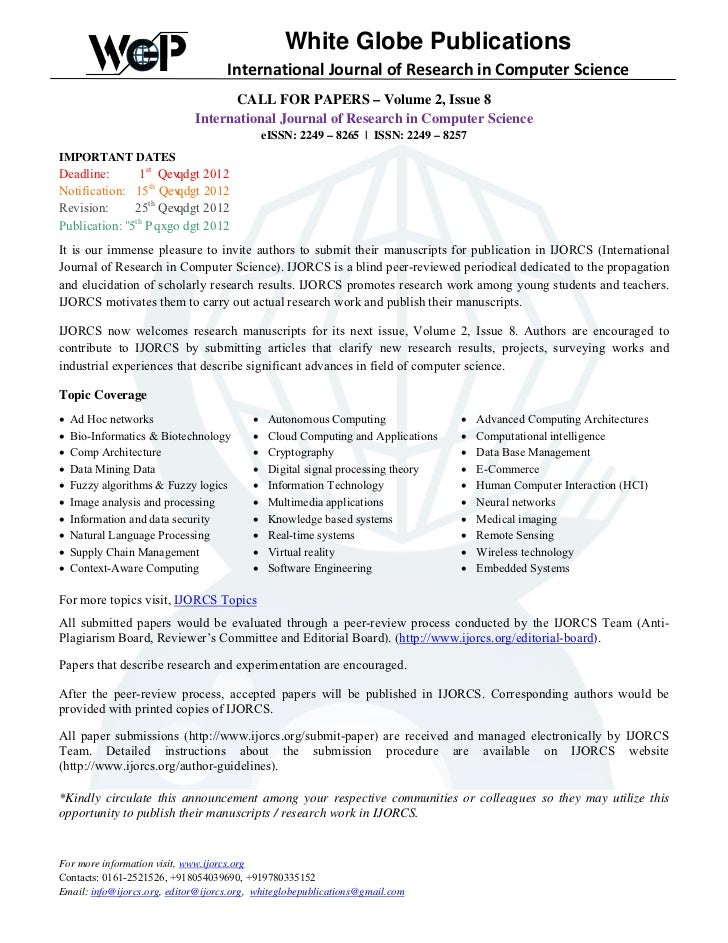 White Globe Publications                                    International Journal of Research in Computer Science         ...