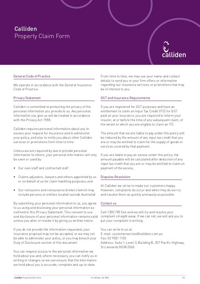CallidenProperty Claim FormGeneral Code of Practice                                           From time to time, we may us...
