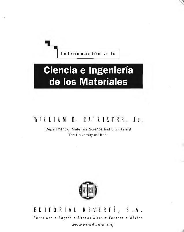 CALLISTER CIENCIA E INGENIERIA DE LOS MATERIALES PDF