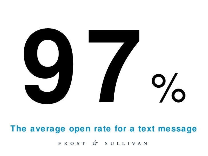 97 % The average open rate for a text message