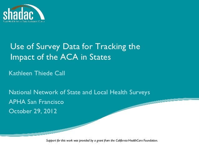 Use of Survey Data for Tracking theImpact of the ACA in StatesKathleen Thiede CallNational Network of State and Local Heal...