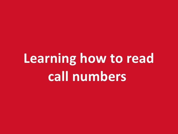 Learning how to read call numbers