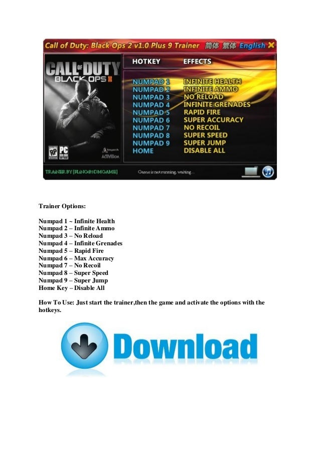 Call Of Duty Black Ops 2 Zombies Trainer Download For Pc