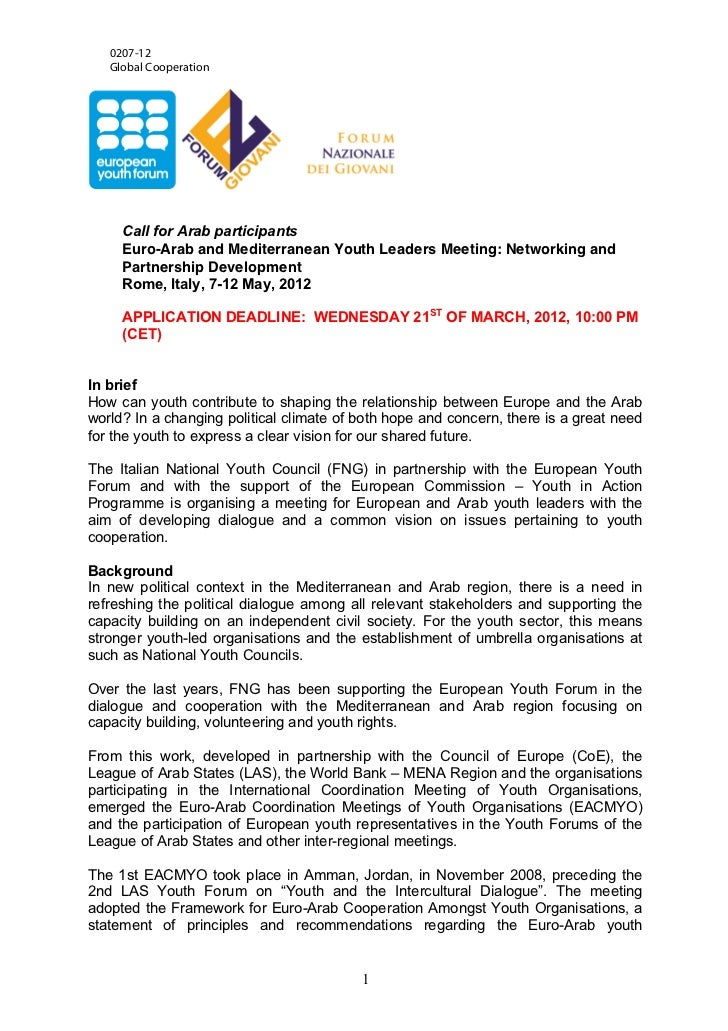 0207-12   Global Cooperation     Call for Arab participants     Euro-Arab and Mediterranean Youth Leaders Meeting: Network...