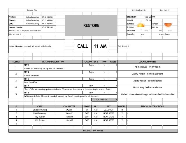 Call Sheet Example. Here'S A Sample Call Sheet I Pulled Off The