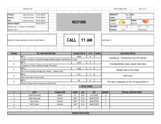 Call Sheet abcprotk