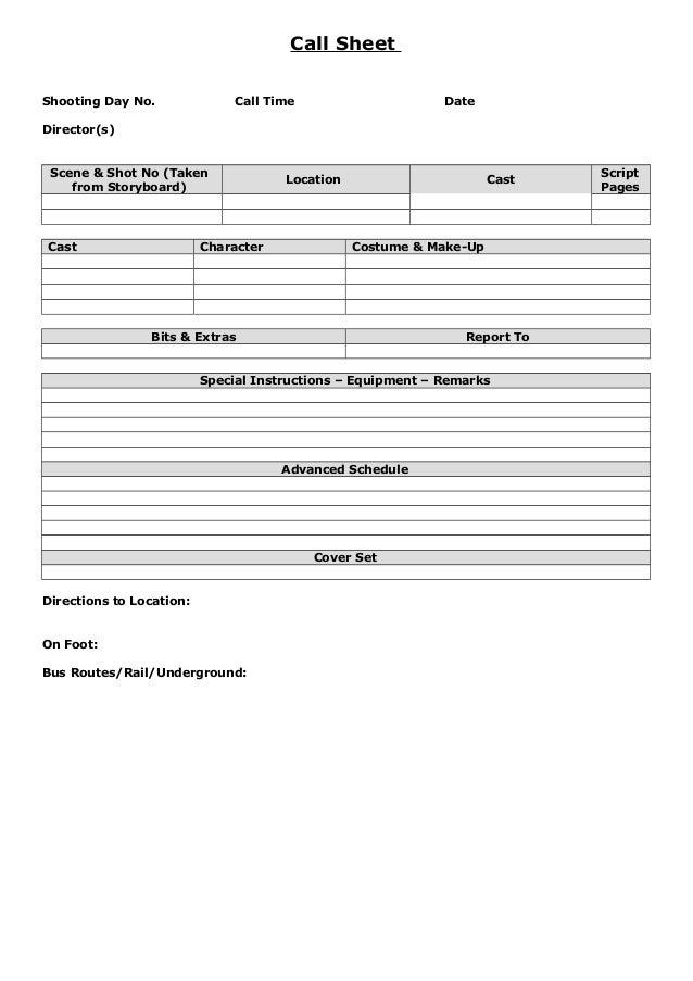 Call Sheet Shooting Day No. Call Time Date Director(s) Scene U0026 Shot  Call Sheet Example