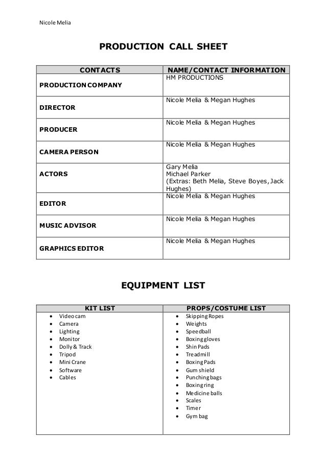 Call Sheet Risk Assessment And Shooting Schedule