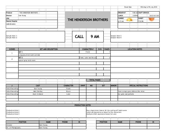 Call sheet template single page - call sheet