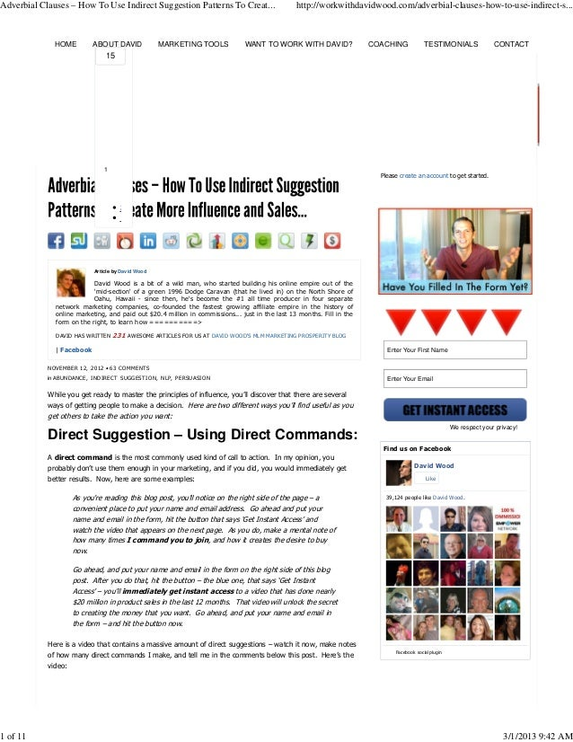 Adverbial Clauses – How To Use Indirect Suggestion Patterns To Creat...                          http://workwithdavidwood....