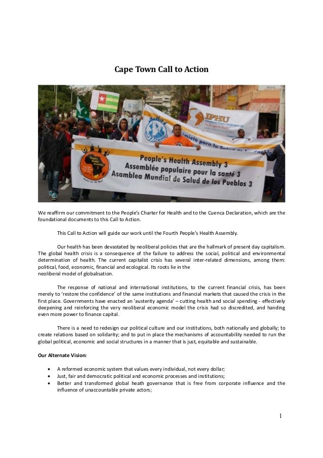 Cape Town Call to ActionWe reaffirm our commitment to the People's Charter for Health and to the Cuenca Declaration, which...
