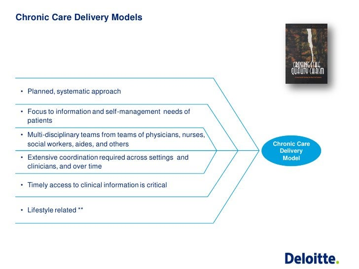 Chronic Care Delivery Models • Planned, systematic approach • Focus to information and self-management needs of   patients...