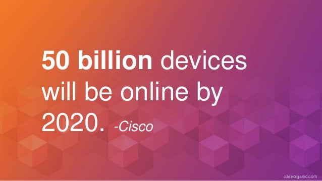 caseorganic.com 50 billion devices will be online by 2020. -Cisco