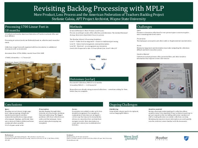 Revisiting	   Backlog	   Processing	   with	   MPLP	    More	   Product,	   Less	   Process	   and	   the	   American	   F...