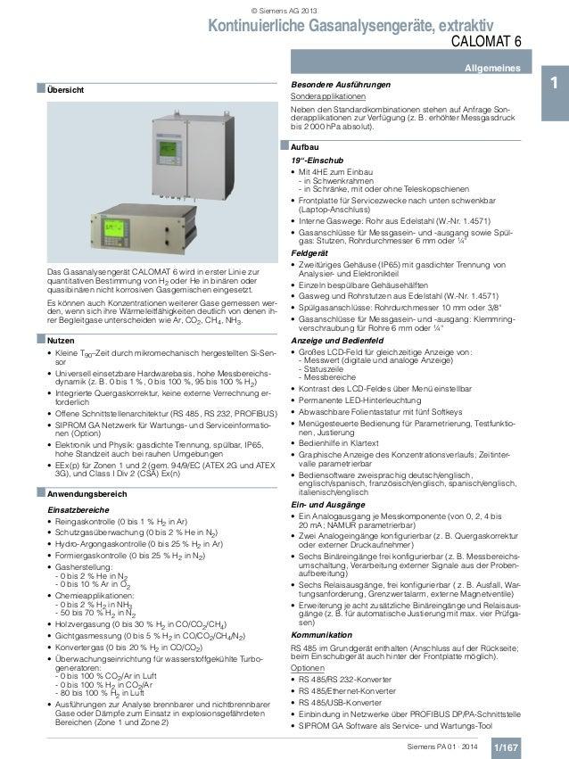 Kontinuierliche Gasanalysengeräte, extraktiv CALOMAT 6 Allgemeines 1/167Siemens PA 01 · 2014 1■Übersicht Das Gasanalysenge...