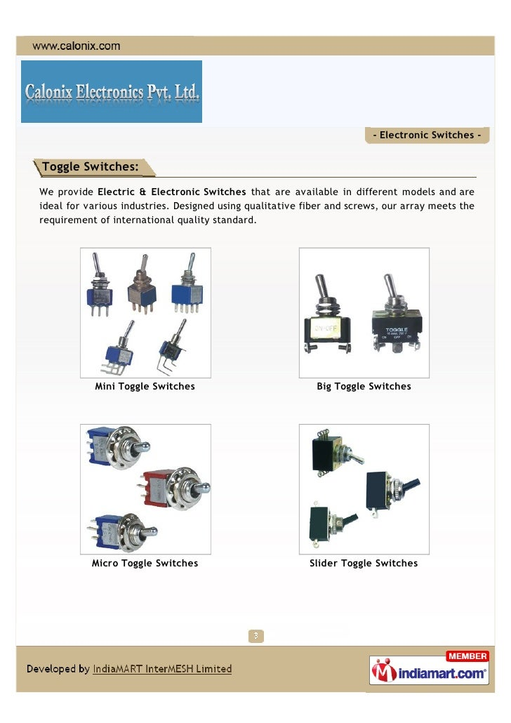 Calonix Electronics Private Limited, Vadodara, Industrial switches Slide 3