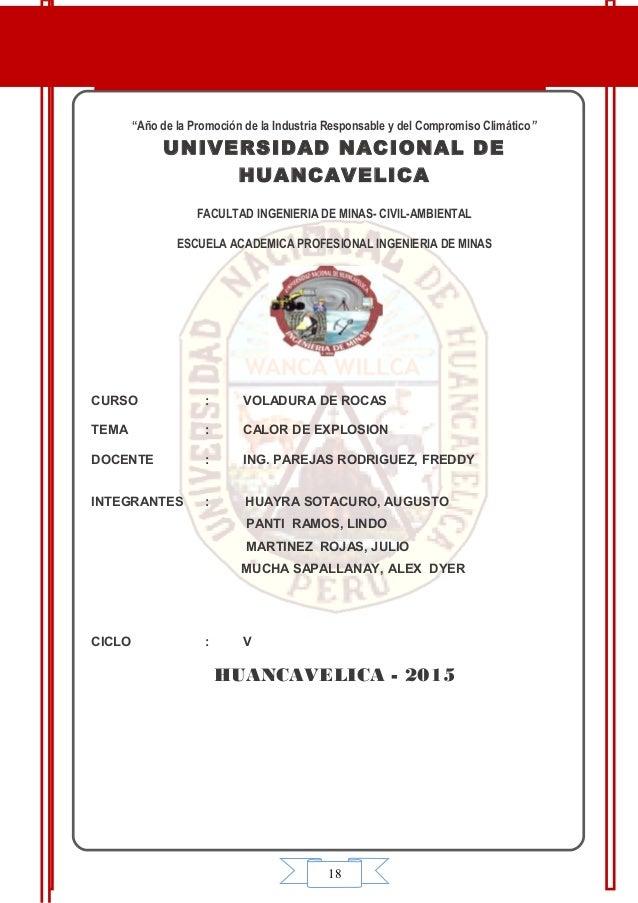 """18 """"Año de la Promoción de la Industria Responsable y del Compromiso Climático"""" UNIVERSIDAD NACIONAL DE HUANCAVELICA FACUL..."""
