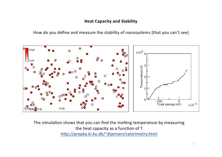 Heat Capacity and Stability<br /> <br />How do youdefine and measure the stability of nanosystems (thatyoucan'tsee)<br />T...