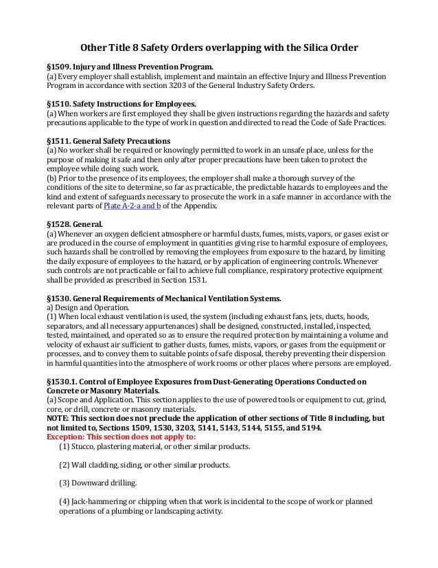 Cal OSHA Silica And Related Orders