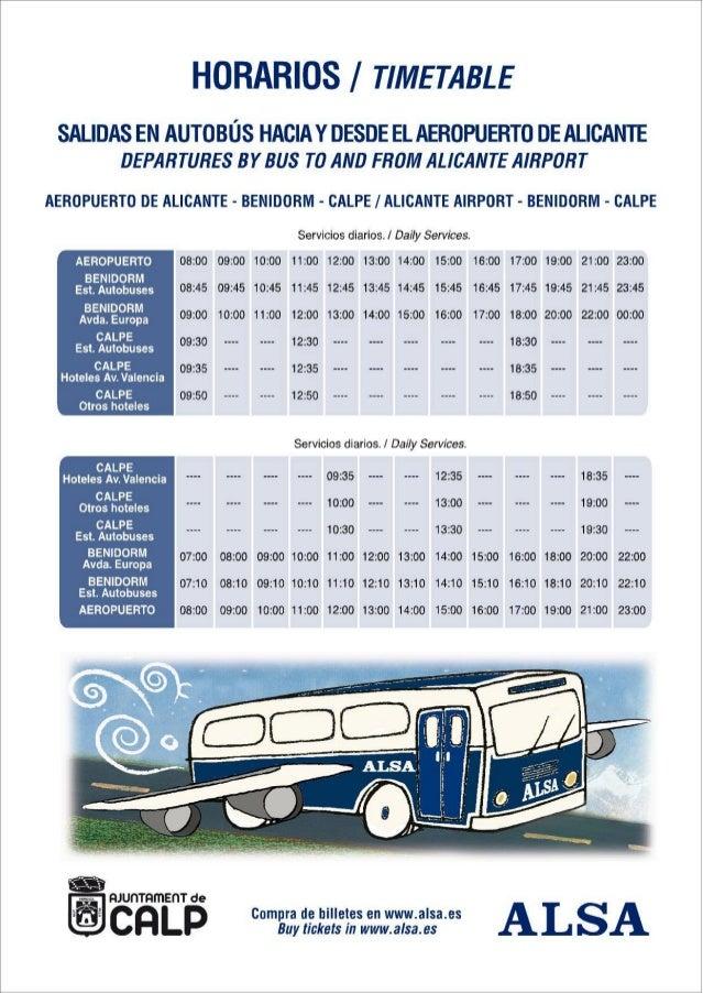 CALPE- Horario Autobús directo Aeropuerto el Altet (Alicante) - Calpe