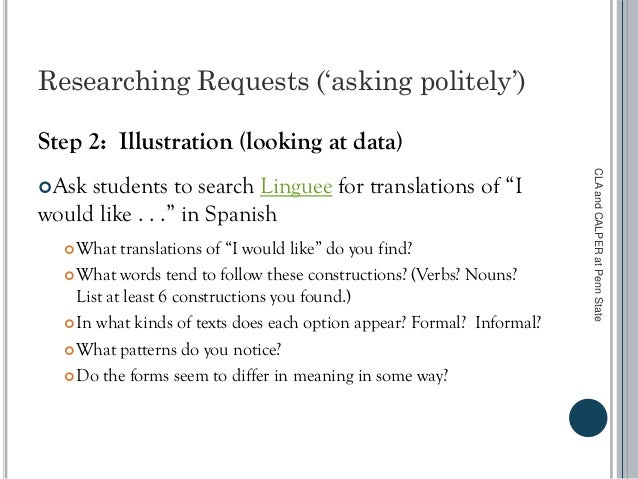 Researching Requests ('asking politely') Step 2: Illustration (looking at data) Ask students to search Linguee for transl...