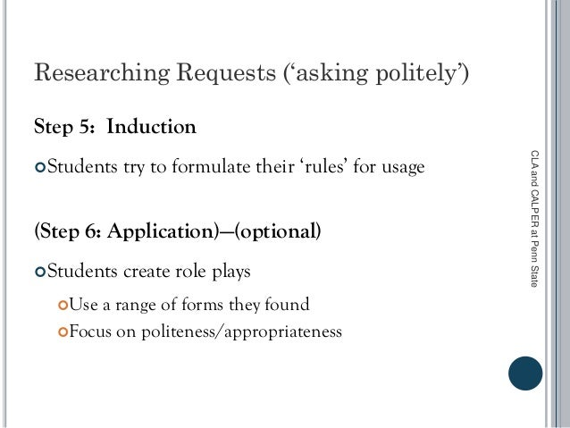 Researching Requests ('asking politely') Step 5: Induction Students try to formulate their 'rules' for usage (Step 6: App...