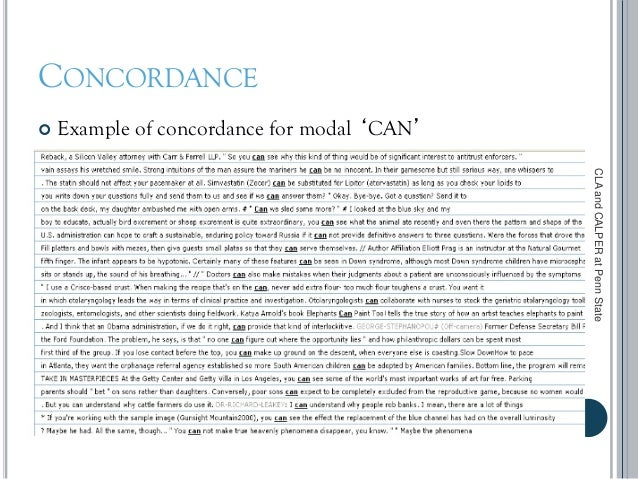 CONCORDANCE  Example of concordance for modal 'CAN' CLAandCALPERatPennState