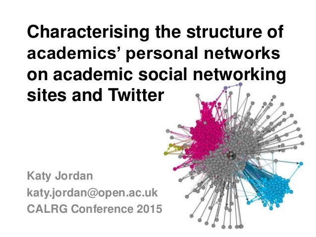 Characterising the structure of academics' personal networks on academic social networking sites and Twitter Katy Jordan k...